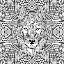 Patterned Head Wolf, Husky, Dog. Abstract Ethnic Image Of The Head Of A Wolf With Ornament. Black, White Ornament Painted By Hand. Animal In Ethnic Style For Printing. Indian, Mexican Motifs. Vector