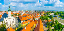 Panoramatic View Of The Hungarian City Gyor With The Roman Cathedral, Carmelita Church And Raba River