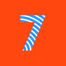 Number 7 Texture Of Curved Lines In White And Blue On Orange Background For Party, Editable Vector