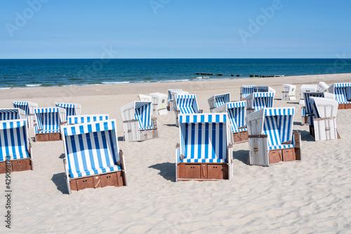 Fotografie, Obraz Beach chairs at the North Sea coast