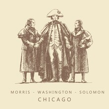 Sketch Of The Morris, Washington And Solomon Monument In Heald Square, Chicago, USA, Hand-drawn.
