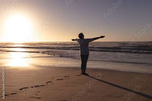 Rear view of senior african american woman standing with her arms wide open at the beach