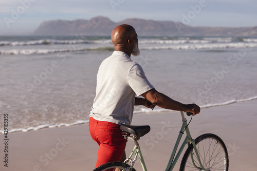 Senior african american man with bicycle walking together on the beach