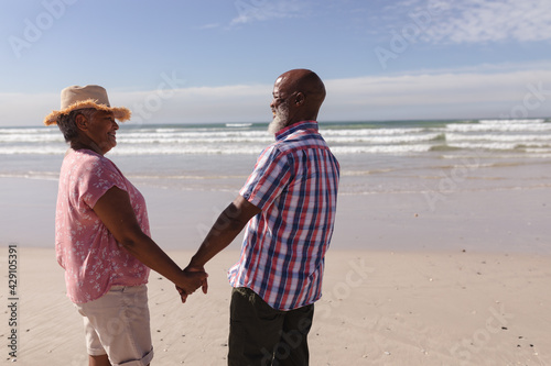 Senior african american couple smiling looking at each other while holding hands on the beach