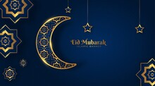 Elegant Eid Mubarak Islamic Background With Crescent Moon