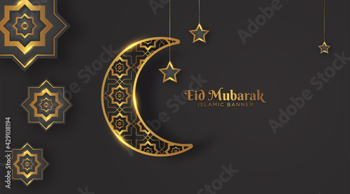 Canvas Print elegant eid mubarak islamic background with crescent moon