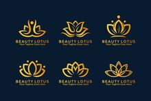 Beauty Lotus Flower Logo Design Template Collection. Vector Illustration.