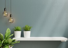 Interior Wall Mockup With Green Plant,Light Blue Wall And Shelf.