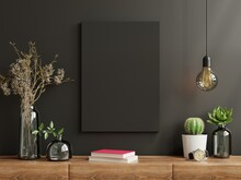 Mockup Frame On Cabinet In Living Room Interior On Empty Dark Wall Background.