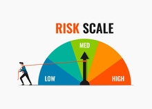 Businessman Pulling Rope At Risk Scale Pointer To Low Position Vector Illustration. Risk Control Strategy Concept.