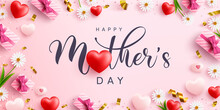 Mother's Day Banner With Sweet Hearts And Cute Gift Box On Pink Background.Promotion And Shopping Template Or Background For Love And Mother's Day Concept.Vector Illustration Eps 10