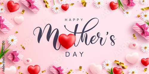 Mother's Day banner with sweet hearts and cute gift box on pink background.Promotion and shopping template or background for Love and Mother's day concept.Vector illustration eps 10 - fototapety na wymiar