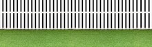 Panorama Of New Wooden Fence Painted White And Fresh Green Lawn Floor Pattern And Background Seamless