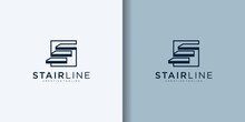 Simple Stairs Line Modern Logo Vector Icon Design Illustration
