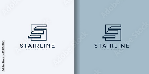 simple stairs line modern logo vector icon design illustration - fototapety na wymiar
