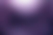 Polished Metallic Surface Lilac Halftone Color Covered Irregular Hexagonal Grid Pattern.