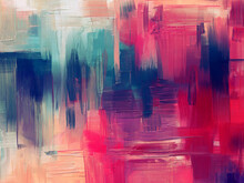 Extra Size Hand Drawn Artwork In Contemporary Style. Modern Art Made With Magenta Color Paint Smears And Rough Brush Strokes For Large Wall Tapestry, Bed Decor, Abstract Painting On Canvas