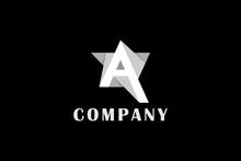 Letter A Paper Cut Black White Star Business Logo
