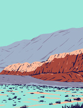 WPA Poster Art Of Red Rock Canyon In Red Rock Canyon National Conservation Area Located In Clark County, Nevada, United States Done In Works Project Administration Style Or Federal Art Project Style.