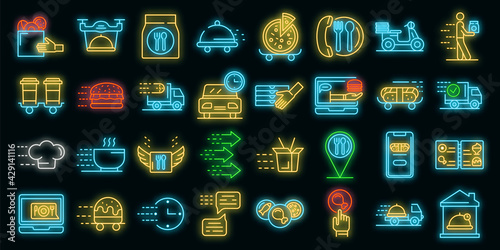 Food delivery service icons set. Outline set of food delivery service vector icons neon color on white