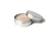 Metal Jar Of Cream Isolated On White Background. Aluminum Pot For Natural Cosmetic Product. Skin Care. Container For Cream Open