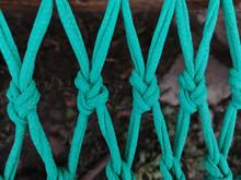 Closeup Shot Of The Green Braided Fishing Net