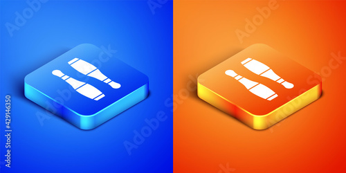 Fotografie, Tablou Isometric Bowling pin icon isolated on blue and orange background
