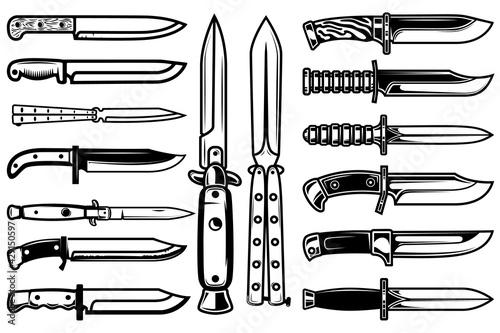 Fotografía Big set of combat knives in monochrome style