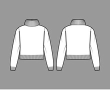 Sweater Cropped Exaggerated Turtleneck Technical Fashion Illustration With Long Sleeves, Relax Fit, Waist Length, Knit Rib Trim. Flat Apparel Front, Back, White Color Style. Women, Unisex CAD Mockup
