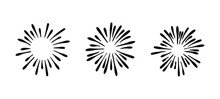 Vector Collection Of Hand Drawn Retro Firework Drawings, Black And White Illustration, Doodles - Isolated, Ink Splashes.