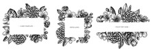Floral Frames With Black And White Hibiscus, Plum Flowers, Peach Flowers, Sakura Flowers, Magnolia Flowers, Camellia Japonica
