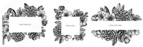 Valokuva Floral frames with black and white hibiscus, plum flowers, peach flowers, sakura