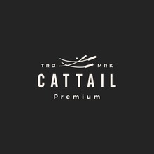 Cattail Hipster Vintage Logo Vector Icon Illustration