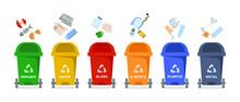 Vector Set Of Recycle Bins For Organic, Paper, Glass, Electronic, Plastic And Metal Waste Isolated On White Background