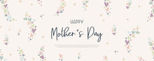 Cute Mother's Day Banner Design, Lovely Hand Drawn Hearts And Hand Lettering - Vector Design