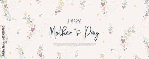 Fototapeta Cute Mother's Day banner design, lovely hand drawn hearts and hand lettering - vector design obraz