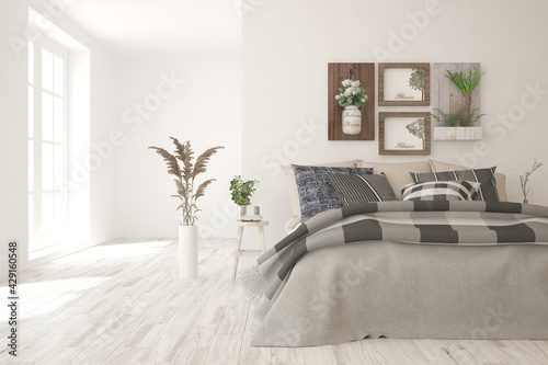 Soft color bedroom interior. Scandinavian design. 3D illustration - fototapety na wymiar