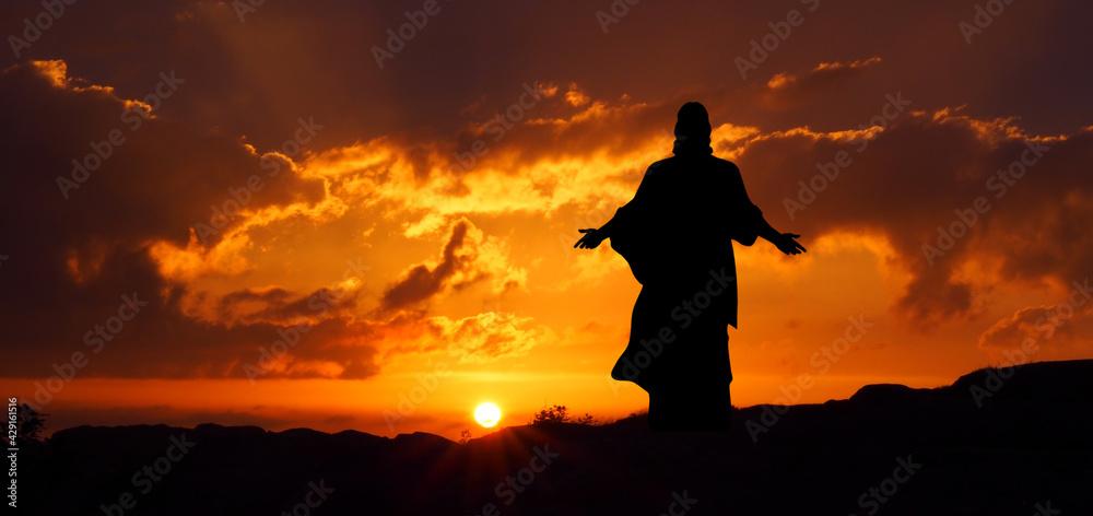 Fototapeta Jezus zmartwychwstały o wschodzie słońca