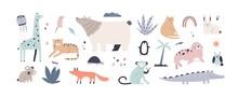 Cute Jungle Animals In Scandinavian Style. Children's Set Of Funny Alligator, Nordic Bear, Fox, Giraffe, Koala, Monkey, Penguin, Seal, Tiger And Cat. Colored Flat Vector Illustration Isolated On White