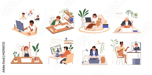Obraz Set of children using PC and laptops. Kids playing computer games, coding, studying and chatting with friends online. Colored flat vector illustration of boys and girls isolated on white background - fototapety do salonu