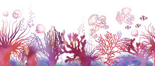 Seamless Horizontal Border With Colorful Corals And Jellyfishes.