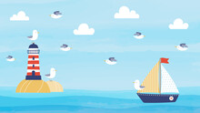 Horizontal Summer Background Design With Cartoon Lighthouse, Sailboat, And Seagulls. Nautical Background Design For Web Banner, Wallpaper, Video, Social Media Header, And More.