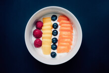 Fruit Salad In Heart Shaped Bowl - Healthy Eating, Black Background