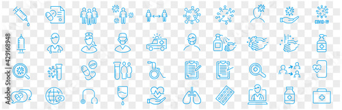 Obraz Set of Coronavirus and Vaccine line icons, covid19, Medical mask, health, contagious, epidemic, outbreak, Vector - fototapety do salonu