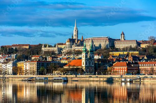 Obraz na plátne Hungary, Budapest, beautiful architecture, fishermen's bastion on the banks of t