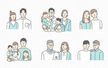 さまざまな家族の形のイメージイラスト素材