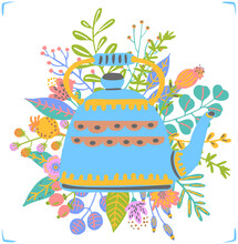 Blue Vintage Tea Pot Decorated With Floral Bouquet  Isolated Vector Illustration