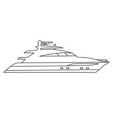 Speedboat Line Icon Logo Design Marine, Ship, Vessel, Side View. Vector Illustration Outline Simple Element Symbol