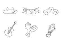 Party Icon Set For Festa Junina Festival. Vector Illustration