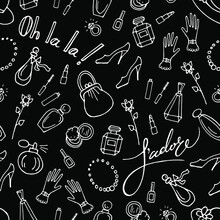 Vector Chalkboard Style Seamless Pattern Female Accessories, Cosmetics, French Words I Love You, Oh La La. Linear White On Black Design For Textile, Wrapping Paper, Wallpaper, Scrapbooking.